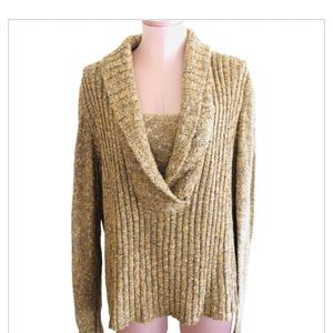 ST JOHN by Marie Gray Gold Shawl V Neck Sweater